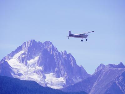 Aircraft in Flight Over Mountain, Haines, Alaska-Roger Holden-Photographic Print