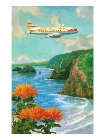 Airliner over Hawaii--Art Print