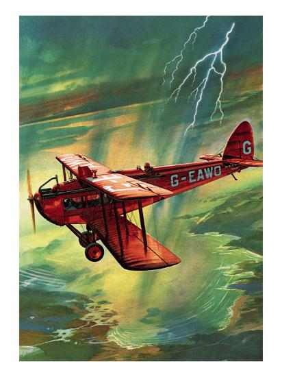 Airliner Struck by Lightning-English School-Giclee Print