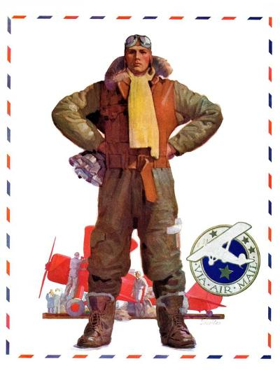 """Airmail Pilot,""December 8, 1934-John E^ Sheridan-Giclee Print"