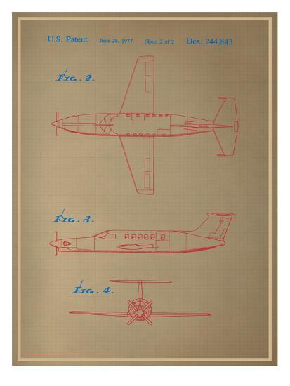 Airplane Blueprint--Art Print
