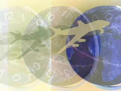 Airplane Flying with Ticking Clock and Globe--Photographic Print