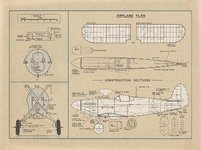 Airplane Plan-The Vintage Collection-Giclee Print