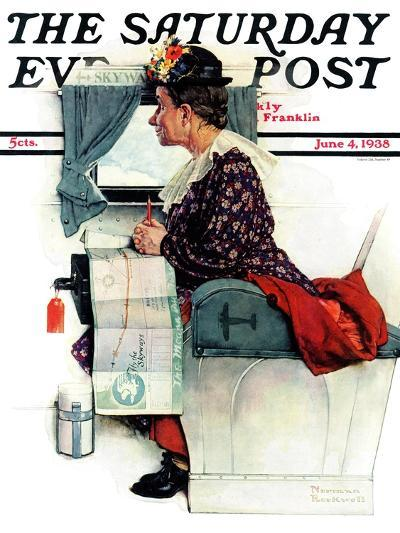 """""""Airplane Trip"""" or """"First Flight"""" Saturday Evening Post Cover, June 4,1938-Norman Rockwell-Giclee Print"""