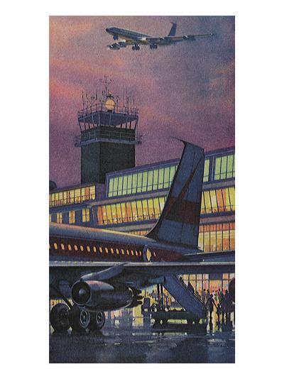 Airport at Dusk--Giclee Print