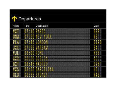 Airport Departures Board-z_i_b_i-Art Print