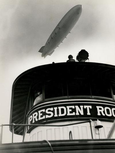 Airship Akron over Ferryboat President Roosevelt-P.L. Sperr-Photographic Print