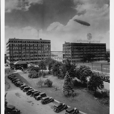 Airship over General Electric Building--Photographic Print