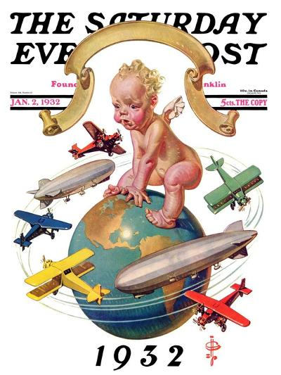 """Airships Circling Baby New Year,"" Saturday Evening Post Cover, January 2, 1932-Joseph Christian Leyendecker-Giclee Print"