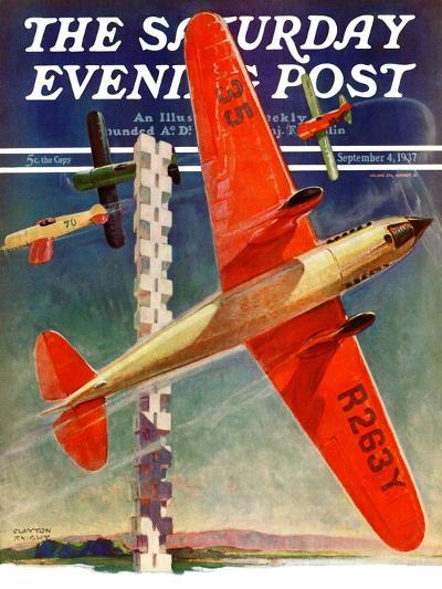 """""""Airshow,"""" Saturday Evening Post Cover, September 4, 1937-Clayton Knight-Giclee Print"""