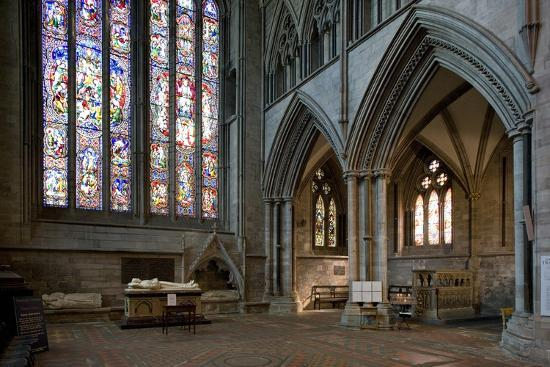 Aisle and Stained Glass Window in Hereford Cathedral--Photographic Print