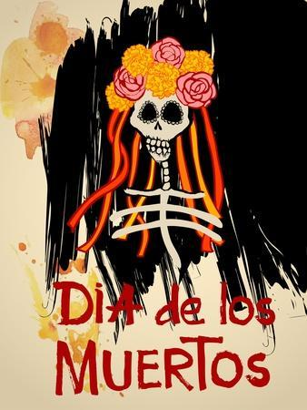Dia De Los Muertos (Day of the Dead) Background with Skull and Flowers. Catrina Calavera with Yello