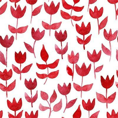 Seamless Pattern with Watercolor Tulips. Vector Background for Fabric, Wrapping Paper, Print and We