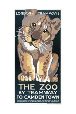 The Zoo by Tramway to Camden Town, London County Council (LC) Tramways Poster, 1930 by AK Mountain