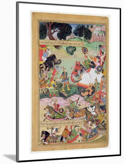 Akbar Receiving the Drums and Standards Captured from Abdullah Uzbeg, Governor of Malwa, in 1564-Mughal-Mounted Premium Giclee Print