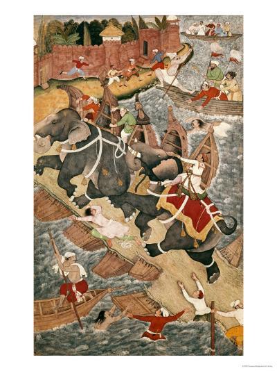 Akbar Tames the Savage Elephant, Hawa'I, Outside the Red Fort at Agra-Basawan-Giclee Print