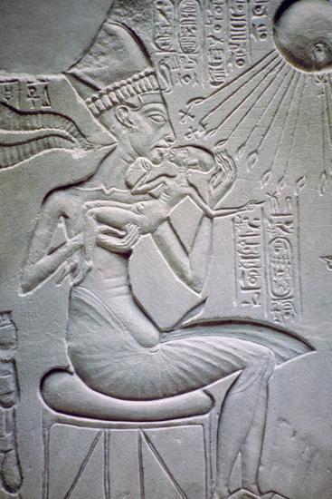 Akhenaten holding one of his daughters. Artist: Unknown-Unknown-Giclee Print