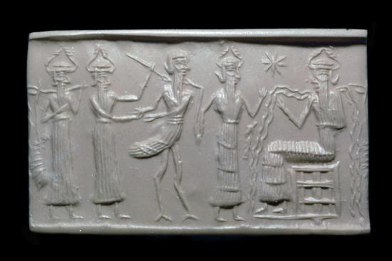 Akkadian cylinder-seal impression. Artist: Unknown-Unknown-Giclee Print
