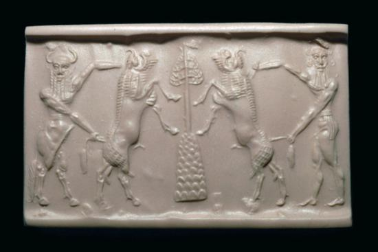 Akkadian cylinder-seal impression of a bull-man and hero. Artist: Unknown-Unknown-Giclee Print