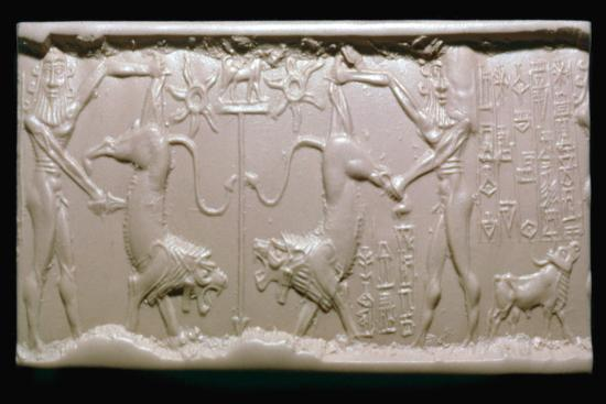 Akkadian cylinder-seal impression of a hero fighting a lion. Artist: Unknown-Unknown-Giclee Print