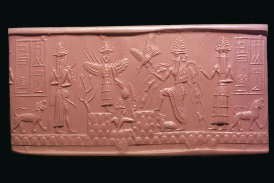 Akkadian cylinder-seal impression of the scribe Adda, 22nd century BC Artist: Unknown-Unknown-Giclee Print