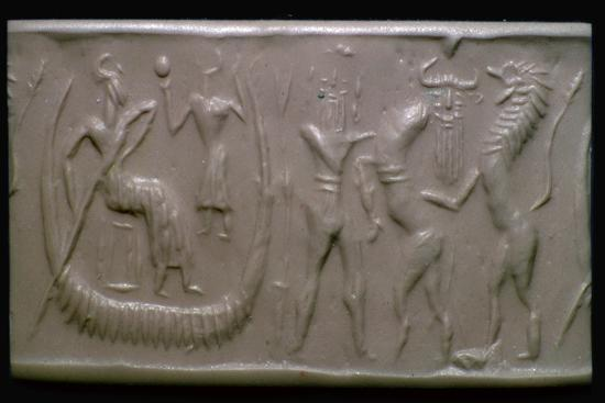Akkadian cylinder-seal impression showing the flood-epic. Artist: Unknown-Unknown-Giclee Print