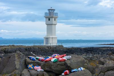 Akranes, at the Lighthouse, Stones with Flag Symbol-Catharina Lux-Photographic Print