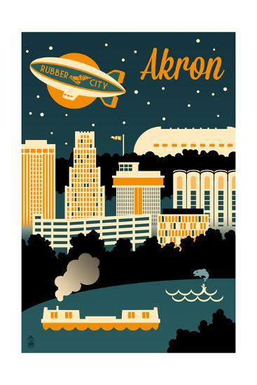 Akron, Ohio - Retro Skyline-Lantern Press-Art Print