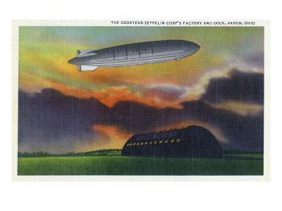 Akron, Ohio - View of the Goodyear-Zeppelin Corp Factory and Dock-Lantern Press-Art Print