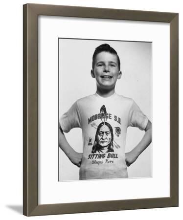 Little Boy Modeling Sitting Bull T-Shirt