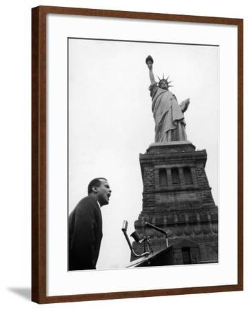 Singer Harry Belafonte, Speaking at Civil Rights Rally at Statue of Liberty