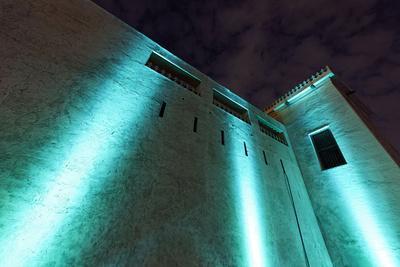 Al Hisn Fort, Museum, Illuminated, Sharjah Light Festival, Emirate of Sharjah-Axel Schmies-Photographic Print