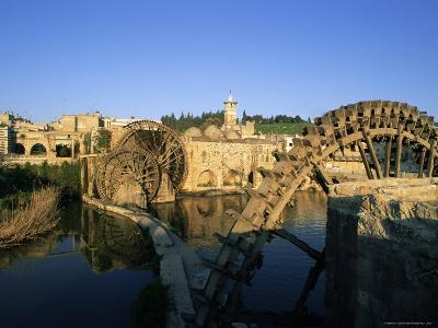 Al Jaabariys, Norias (Nourias) (Water Wheels), and the Al Nour Mosque, Hama, Syria-Bruno Morandi-Photographic Print