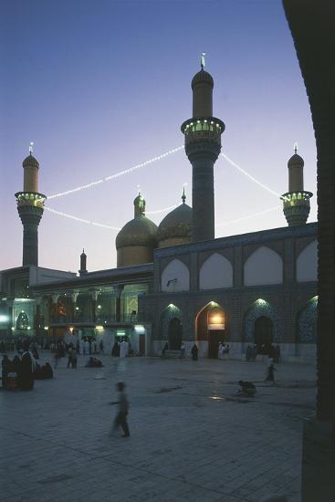 Al-K?Dhimiya Mosque at Night, Baghdad--Photographic Print