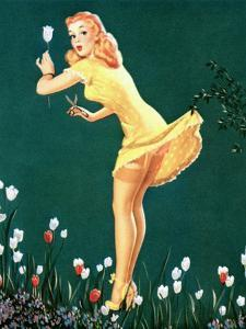 Boughed Beauty Pin-Up Picking Tulips c1940s by Al Leslie