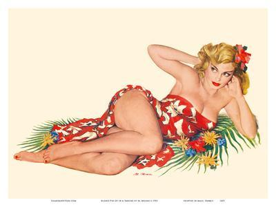 Blond Pin-Up in a Sarong - August 1951