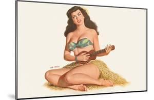 Pin Up Girl Playing Ukelele c.1951 by Al Moore