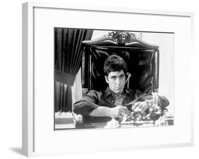 Al Pacino Siting on Chair Black and White Portrait-Movie Star News-Framed Art Print