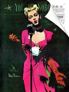 """The Muses Is My Racket  - Saturday Evening Post """"Leading Ladies"""", February 3, 1945 pg.13 by Al Parker"""