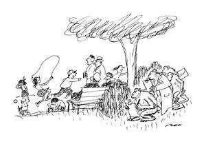 A group of monkeys are drawing the crowd of people in the park. - New Yorker Cartoon by Al Ross