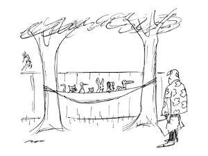 A man approaches his hammock, with is filled with animals. - New Yorker Cartoon by Al Ross