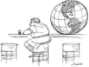 Atlas sitting at bar with his globe along side him on the counter. - New Yorker Cartoon by Al Ross
