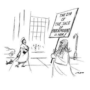 """Doomsday prophet carries sign which says, """"The End of the Sale of Paramoun?"""" - New Yorker Cartoon by Al Ross"""