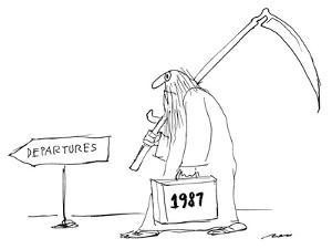 """Father time with briefcase saying """"1987"""" follows """"departures"""" sign. - New Yorker Cartoon by Al Ross"""