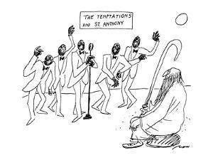 """Five black singers and Saint Andthony, a sign on the wall says """"The Tempta? - New Yorker Cartoon by Al Ross"""