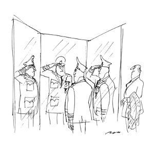 General saluting himself in three-way mirror while tailor looks on. - New Yorker Cartoon by Al Ross