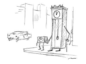 Grandfather clock, holding cane, is helped across the street by younger cl? - New Yorker Cartoon by Al Ross
