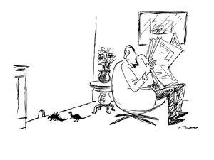 Man reading newspaper sees two tiny dinosaurs enter mouse hole in the wall? - New Yorker Cartoon by Al Ross