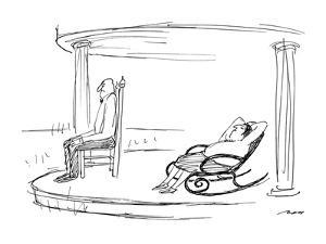 Man sits in stiff, upright chair, while wife lies back in comfortable rock? - New Yorker Cartoon by Al Ross