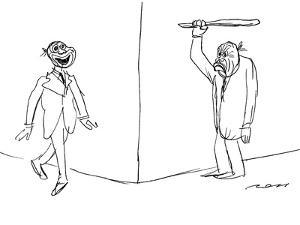 Man with frowning mask and bat waits around the corner for man with smilin… - New Yorker Cartoon by Al Ross